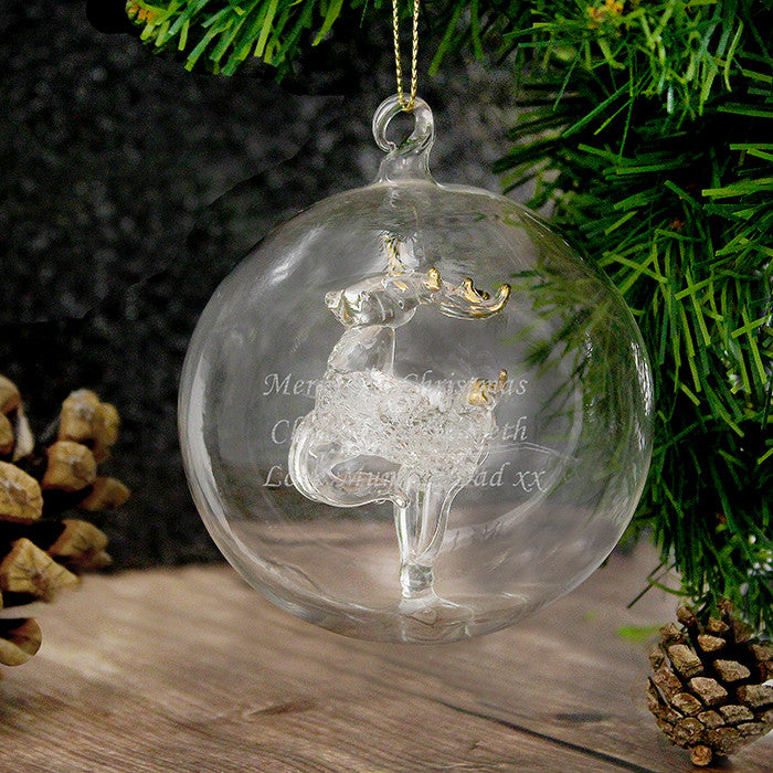 Personalised Christmas Tree Bauble, Glass with Reindeer