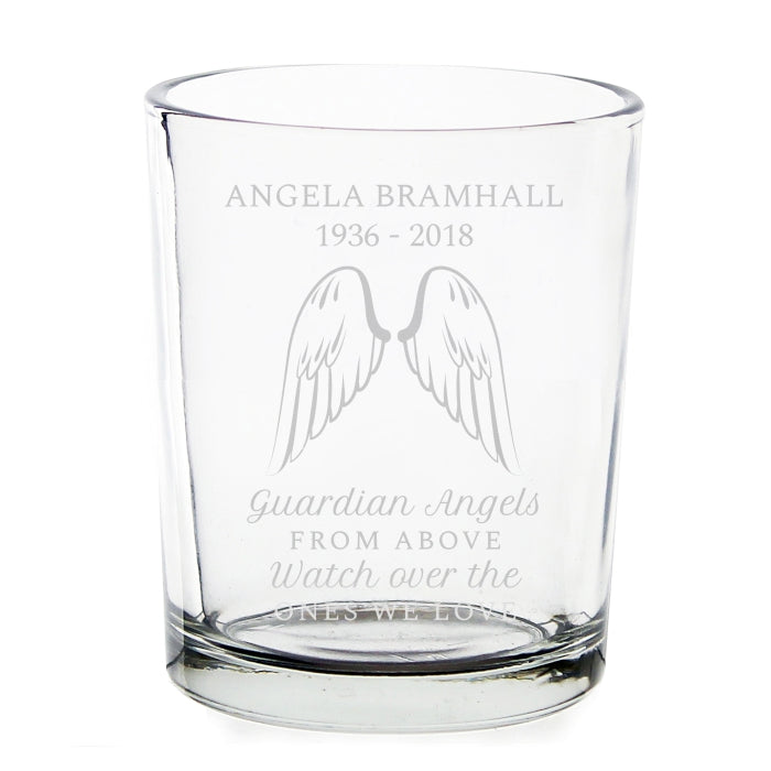 Personalised Angel Wings Votive Candle Holder