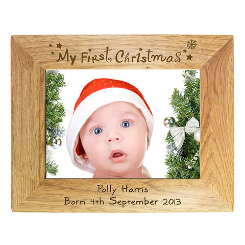 Personalised 'My First Christmas' Wooden Photo Frame