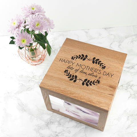 Happy Mother's Day Large Oak Photocube Box