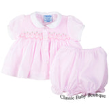 Freidknit Creations by Feltman Bros Girls Pink Smocked Ribbon Diaper Set Preemie Newborn
