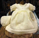 Will'beth Girls Lemon Yellow Knit Dress 3pc Set with Bonnet & Bloomers Preemie Newborn