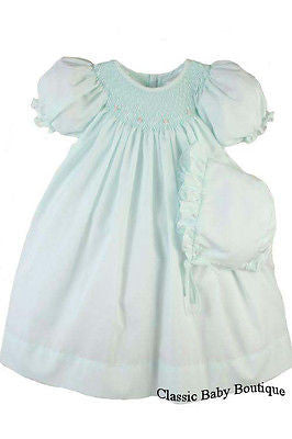Petit Ami Girls Mint Bishop Smocked Baby Dress Daygown 3 6 9 Months