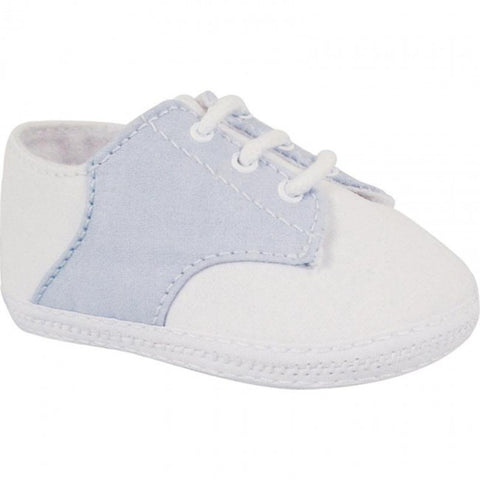 Baby Deer White Blue Cotton Saddle Oxford Crib Shoes Boys Preemie & Newborn 3 Months Size 00, 0, 1