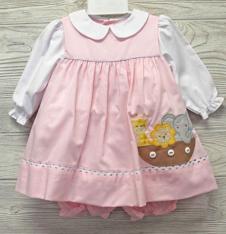 Petit Ami Girls Pink Noah's Ark Dress & Bloomers 3 6 9 12 18 24 Months