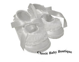 Baby Deer White Satin Lace Frilly Booties Crib Shoes Girls Preemie & Newborn Size 00 & 0