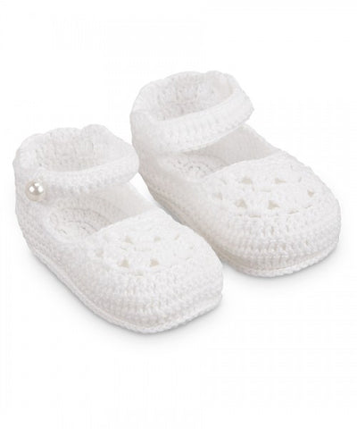 Jefferies Socks White Crochet Mary Jane Baby Booties Girls Shoes Size 0 Newborn