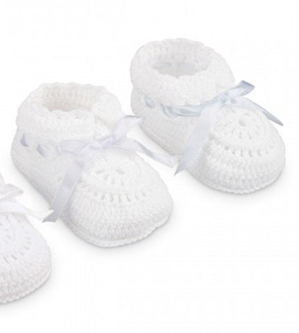 Jefferies Socks White Crochet Blue Satin Ribbon Baby Booties Boys Girls Shoes Size 0 Newborn