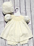 Petit Ami Girls Maize Yellow Smocked Bishop Dress with Bonnet & Bloomers Newborn