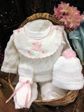 Will'beth White Pink Knit 4pc Gift Set Baby Girls Hat Booties Newborn & Preemie