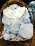 Will'beth Baby Boys Blue Knit Pom Pom 4pc Welcome Home Set Preemie & Newborn