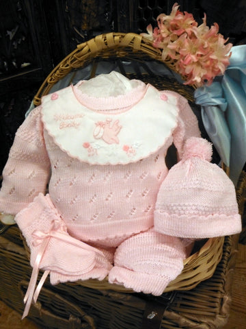 Will'beth Pink Knit 4pc Welcome Home Pant Set Baby Girls Hat Booties 100% Cotton Preemie Newborn