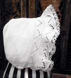 Will'Beth Solid White Knit Lace Baby Baby Girls Bonnet Newborn