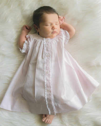 Feltman Brothers Girls Pink Batiste Lace Smocked Bishop Daygown Dress Newborn