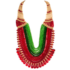 Ten String Rani Necklace 0103 Maroon Green