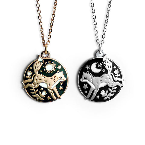 Foxes Friendship Enamel Necklace Pair