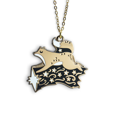 Fox Shooting Star Enamel Necklace