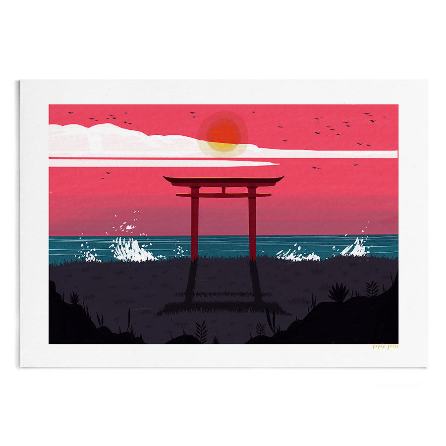 Torii by the Sea Artists Print