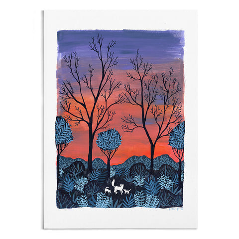 Foxes at Sunrise Artists Print