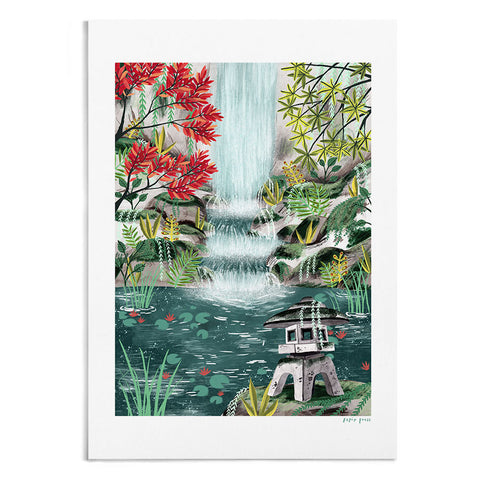 Shrine by the Waterfall Artists Print