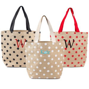 Red Polka Dot Natural Jute Tote Bag