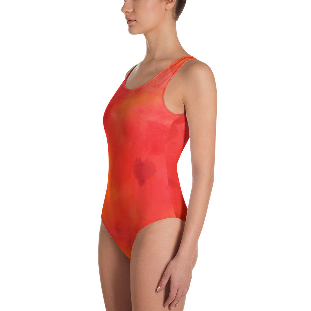 Red Love Leotard Swimsuit