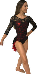 3/4 Sleeve Lace Leotard with Skirt