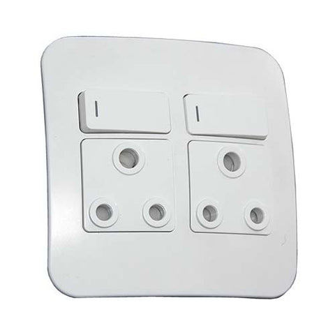 16A Double Switched RSA Socket Complete with Cover