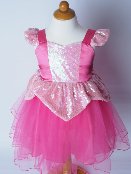 Girls Princess Aurora Dress - Sleeping Beauty Sequin Costume
