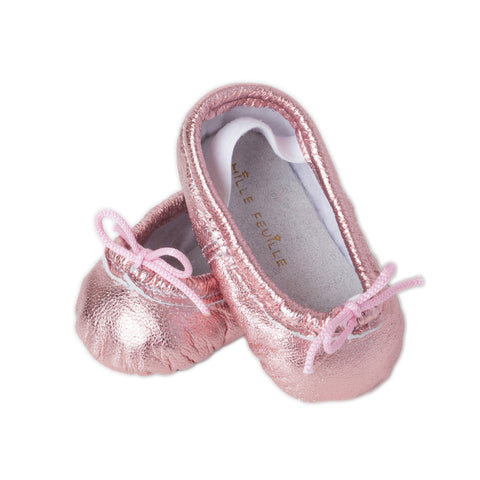 Newborn Baby Ballet Slippers - Metallic Pink leather shoes