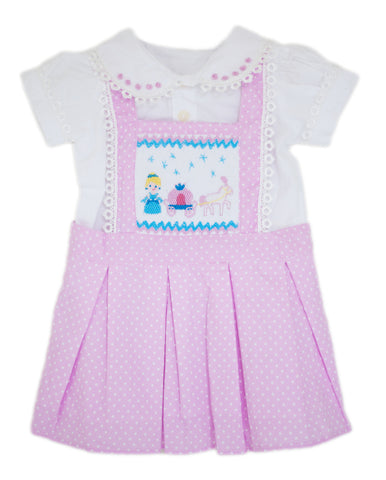 Cinderella Carriage Smocked 2 piece Jumper Dress