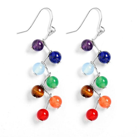 Silver Plated  Bead 7 Chakra Healing Balance Drop Earrings
