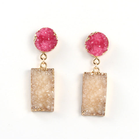 Druzy Resin Stone Rectangle  Earring