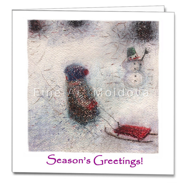 Cover of the Christmas Card featuring Cezara Kolesnik's painting Sledding