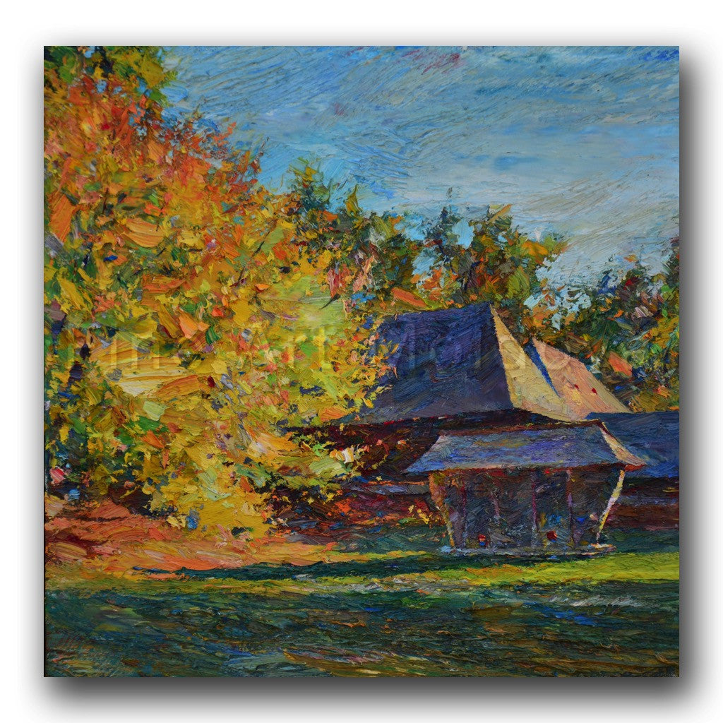 Original painting entitled Autumn Trees by Moldovan artist Gheorghe Lisiţa
