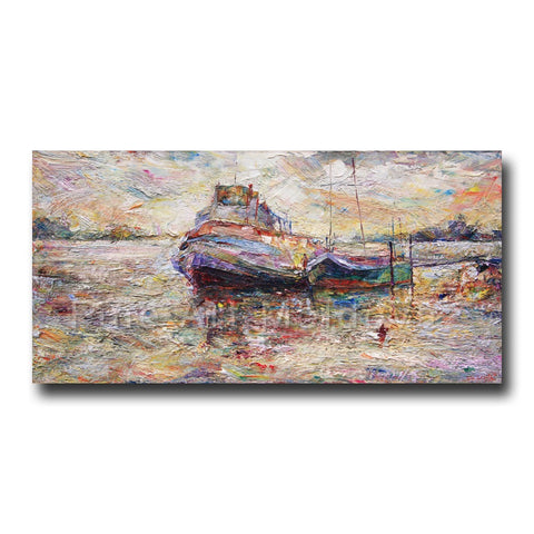 Original Painting Boats on Wisla River by Gheorghe Lisita