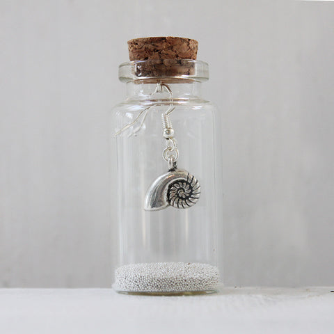 Ammonite Seashell Earrings in a Bottle (100)
