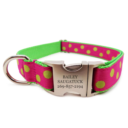 Rita Bean Engraved Buckle Personalized Dog Collar - Fuchsia With Green Dots