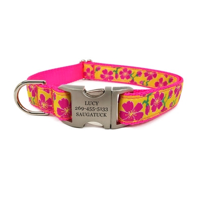 Rita Bean Engraved Buckle Personalized Dog Collar - Passion Flower Pink