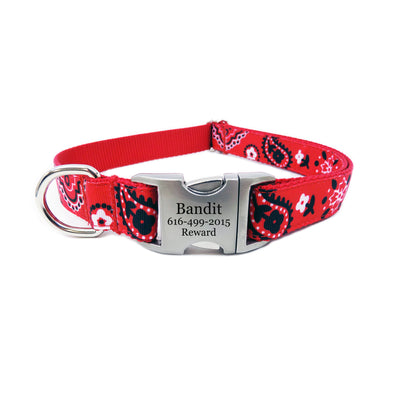 Rita Bean Engraved Buckle Personalized Dog Collar - Red Bandana