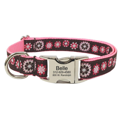 Rita Bean Engraved Buckle Personalized Dog Collar - Wildflowers
