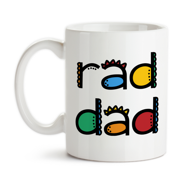 Coffee Mug, Rad Dad Father's Day Kids Teens Parenting Dad's Birthday Funky Colorful Christmas