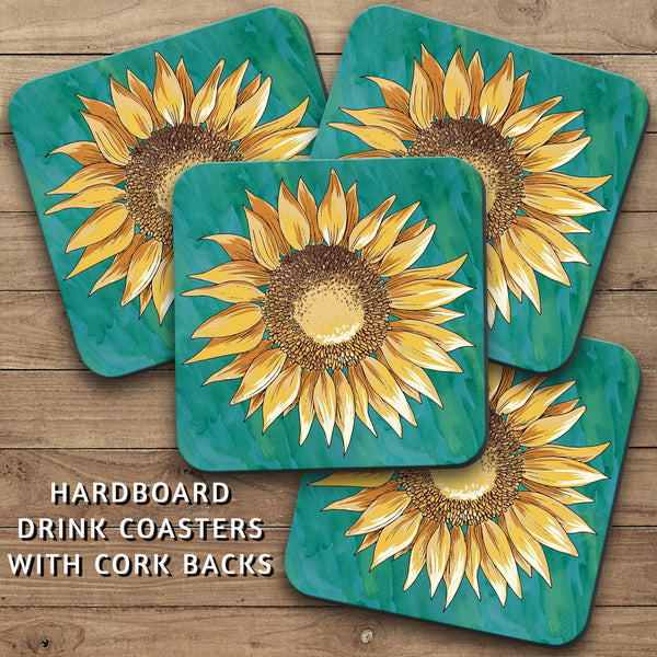 Drink Coasters, Yellow Sunflower Over Teal Watercolor 001, Floral Decor, Flower Decor
