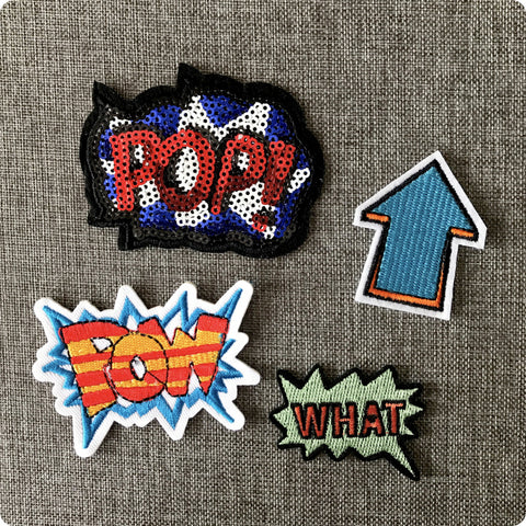 Superhero comic speech bubble embroidery iron on patch motif badge applique 4pcs set