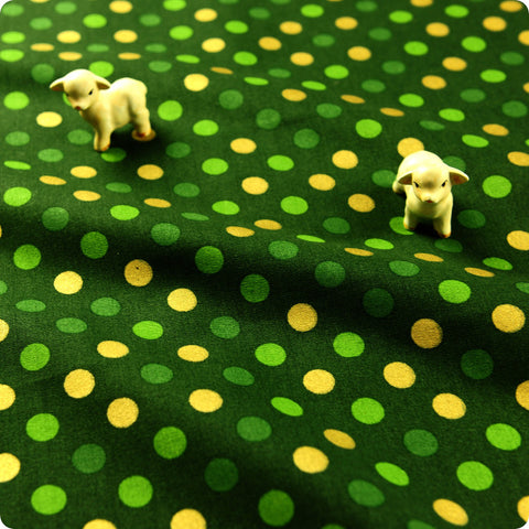 Christmas - green & gold Xmas polka dots 10mm spotty cotton fabric FQ1608-23