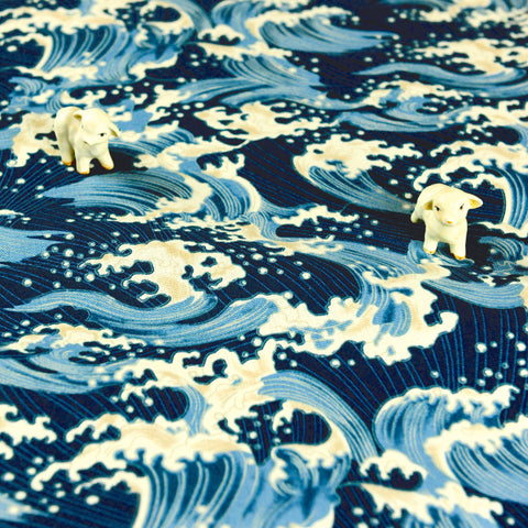 Japanese - blue tide sea waves cotton linen blend fabric W:140cm FQ1807-09