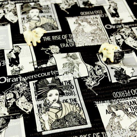 Japanese - monochrome black & white Edo period geisha cotton fabric W:146cm FQ1807-11