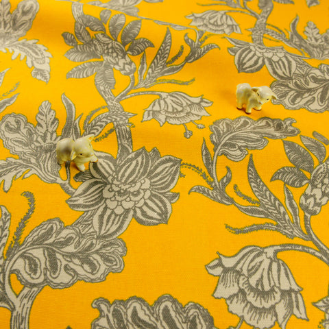 Bold floral - yellow & grey flowers cotton canvas fabric W148cm FQ1811-16