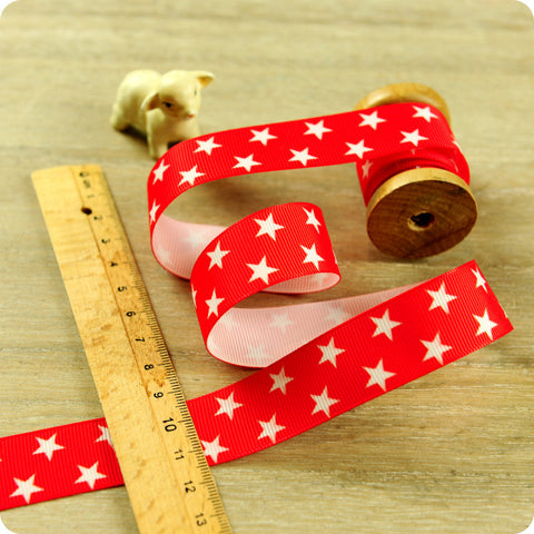 Stars - 3m red & white starry grosgrain ribbon RB1604-10