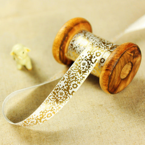 Floral - 2yd gold & white flowers 19mm luxury ribbon RB1806-01G